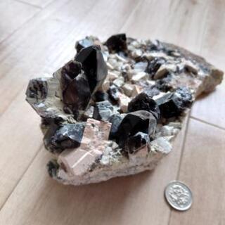 【ネット決済・配送可】モリオン 原石付 黒水晶