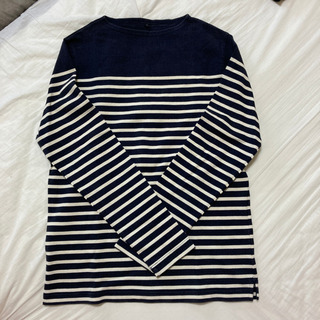 無印良品 長袖Tシャツ ボーダー 紺×白 L