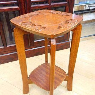透かし彫り 葡萄 花台 木製 サイドテーブル 27.5×27.5...