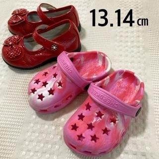 女の子  14.5㎝ 水玉 赤 靴
