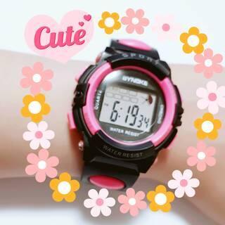 新品 キッズウォッチ デジタル 腕時計 防水 ピンク 女の子