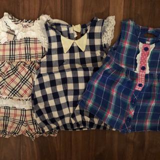 夏用 チェック柄 サイズ80 女の子用洋服3枚セット