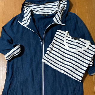 7分袖パーカーとボーダーシャツ サイズL