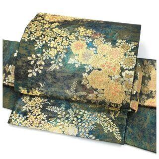 【ネット決済・配送可】美品 上質 正絹 袋 花模様 深緑 二重太...
