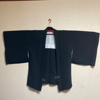 5MKO420  和服 着物  羽織 単品 黒 無地 家紋付き