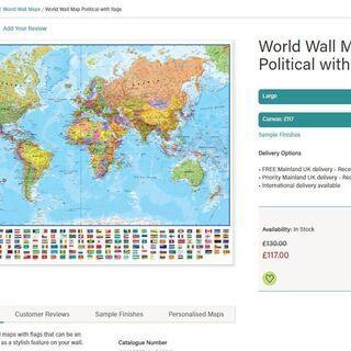 【ネット決済・配送可】イギリス製 World Map Polit...