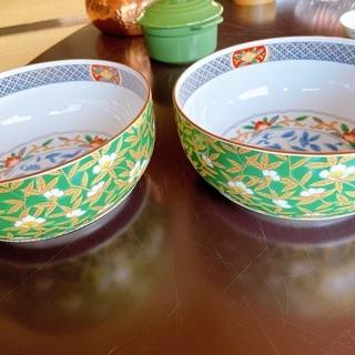 〈値下げしました〉楕円鉢 深皿 大鉢 中鉢 手描き 【2つセット】