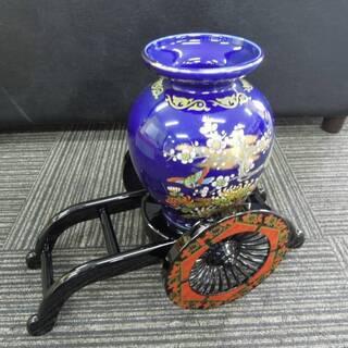 御所車と明陶花器 陶器 花瓶