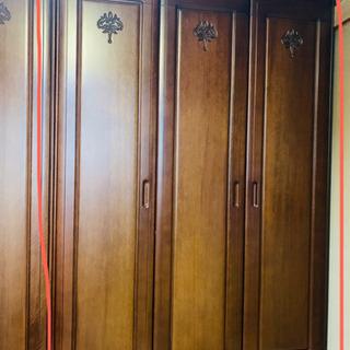 【ネット決済】【木製】クローゼット 3枚扉 (全身鏡付き)