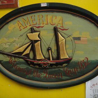 木製壁飾り 帆船 アート オブジェ 壁掛け