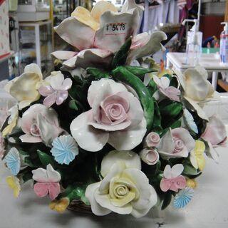イタリア製陶花バラ 陶製フラワー バスケット オブジェ 置物