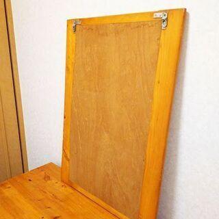 大幅にお値下げしました!40年前の檜の鏡 69cm×49cm - 家具