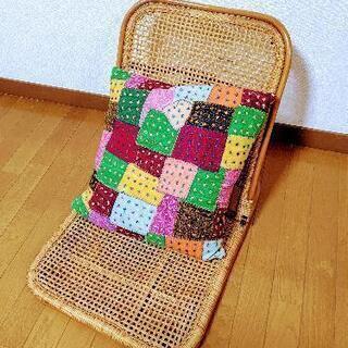 ラタン編みのレトロな座椅子●2脚セット 籐 アンティーク