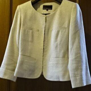 M-PREMIER★シルク混の綿素材ノーカラージャケット サイズ34