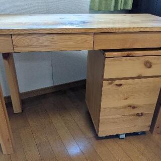 【無料】木の机とキャビネットセットをお譲りします