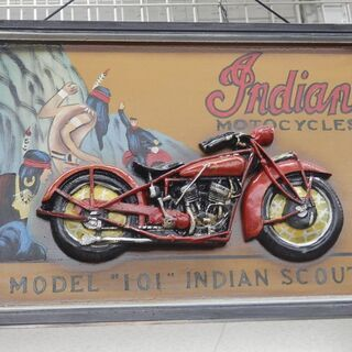 Indian Motocycles 木製 看板 アートパネル ア...