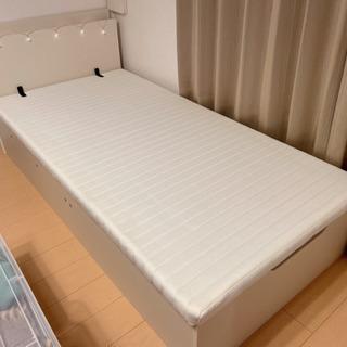 【ネット決済】シングル 大容量収納 跳ね上げベッド