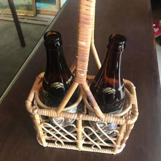 籐(ラタン)のビールポーター♪  ウチ飲み時間の充実に 中瓶2本...