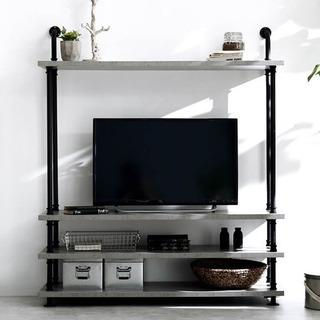 【6/13まで】[幅120] 壁面収納付テレビ台(グレー)49V...