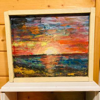 油絵 海辺の夕暮れor日の出