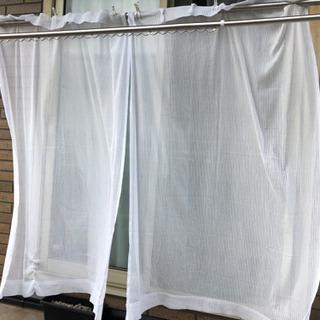 フック付 白レースカーテン 170*50 1セット(2枚)