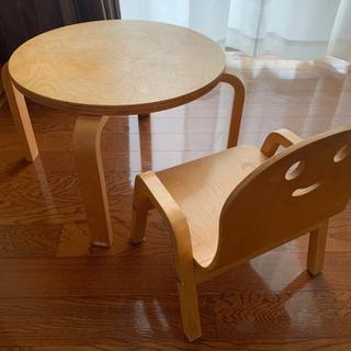 KATOJI 木製丸テーブル+チェア セット