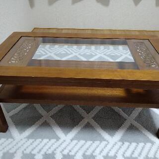 更に値下げ!アジアン風 ガラス板 テーブル