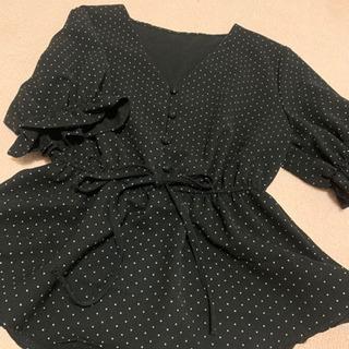 韓国ファッション ドッド柄ブラウス