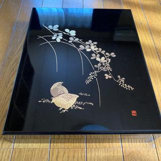 会津塗 木製漆塗文箱 「萩にうずら」新品未使用 美品