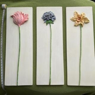 ★花オプジェ★壁掛け★飾り★素敵な陶器製