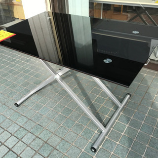 【便利!】昇降式★ガラステーブル