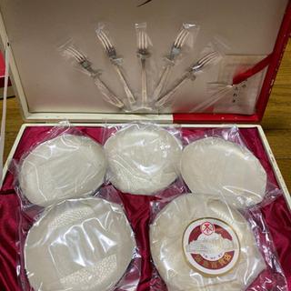 洋白銀器セット 小皿・フォークセット 新品未使用