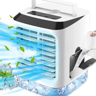 【新品未使用】 冷風扇 扇風機 卓上冷風機 タイマー付 風量3段...