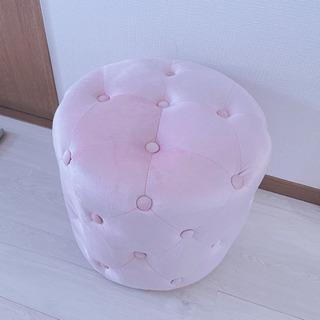 新品 ピンク ベルベット アンティーク スツール 椅子 ソファ オットマン - 家具