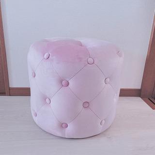 新品 ピンク ベルベット アンティーク スツール 椅子 ソファ オットマン - 上尾市