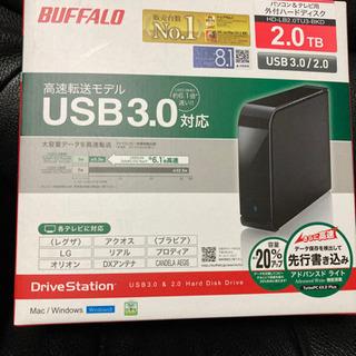 値下げ! 外付けHDD 2TB、USB3.0 TV用,PC用