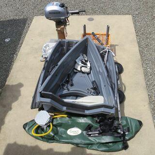 2分割ボート+ホンダ2馬力船外機+オプション、後付け品多数