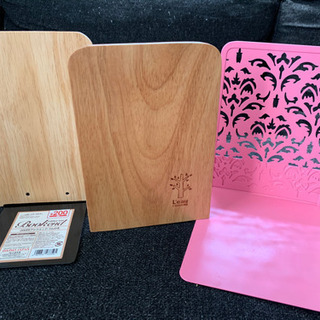 ブックエンド 木製2個 スチール製1個