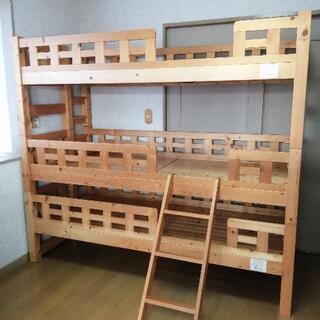 木製三段スリムベッド(二段、一段のみでも可能)