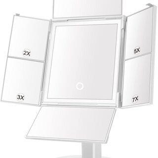 未使用 卓上ミラー ライト付き 化粧鏡 七面鏡 2倍&3倍&5倍...