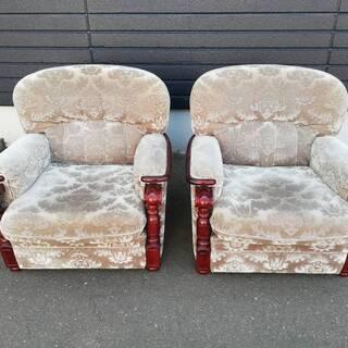 【061101】カリモク2脚 ソファ 座椅子 幅80㎝ 奥…