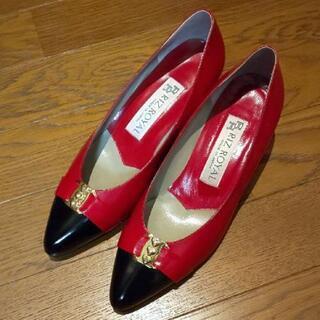 【新品】RIZ ROYAL パンプス 23cm 赤黒