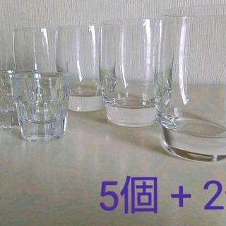 グラス5個 + レトロなショットグラス2個(おまけ)