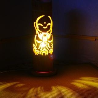【ネット決済・配送可】竹ランプ 〜〜お地蔵様〜〜 竹灯籠 竹灯り