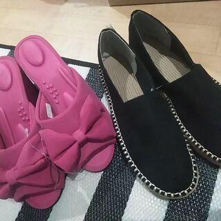未使用Mサイズ ピンクサンダル&軽い!黒の靴2つセット