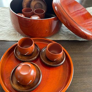 万古焼湯呑茶碗10個組、茶びつ、お盆のセット