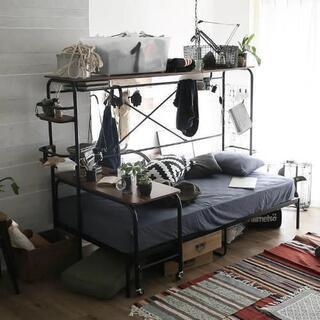 LOWYA シングルベッド(テーブル付き) ブラウン 1年半使用