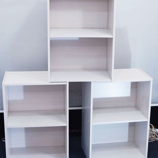【ネット決済】2段 カラーBOX  ホワイト 収納・飾り棚3個セ...