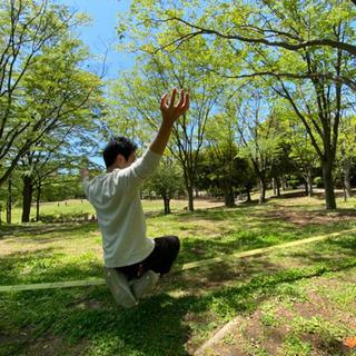 茅ヶ崎市中央公園でスラックライン教室