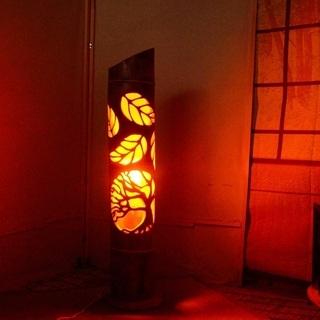 【ネット決済・配送可】竹ランンプ 〜〜揺らぎの炎 リーフ〜〜